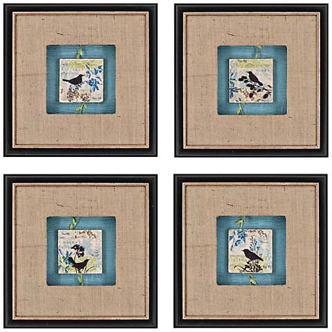 """Set of 4 Black Bird Tiles 14"""" Square Framed Wall Art"""