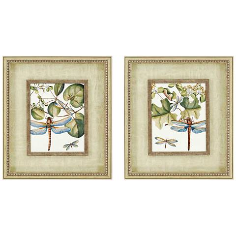 "Dragonfly Medley 25"" High Framed Wall Art Set of 2"
