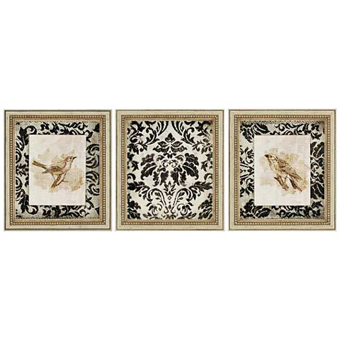 """Vintage Antique Mirrored 17"""" High Framed Wall Art Set of 3"""