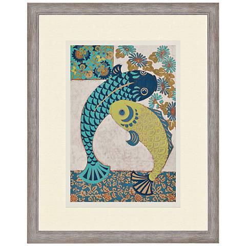 "Koi Ornament I 38"" High Giclee Framed Wall Art"
