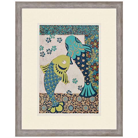 """Koi Ornament II 38"""" High Giclee Framed Wall Art"""