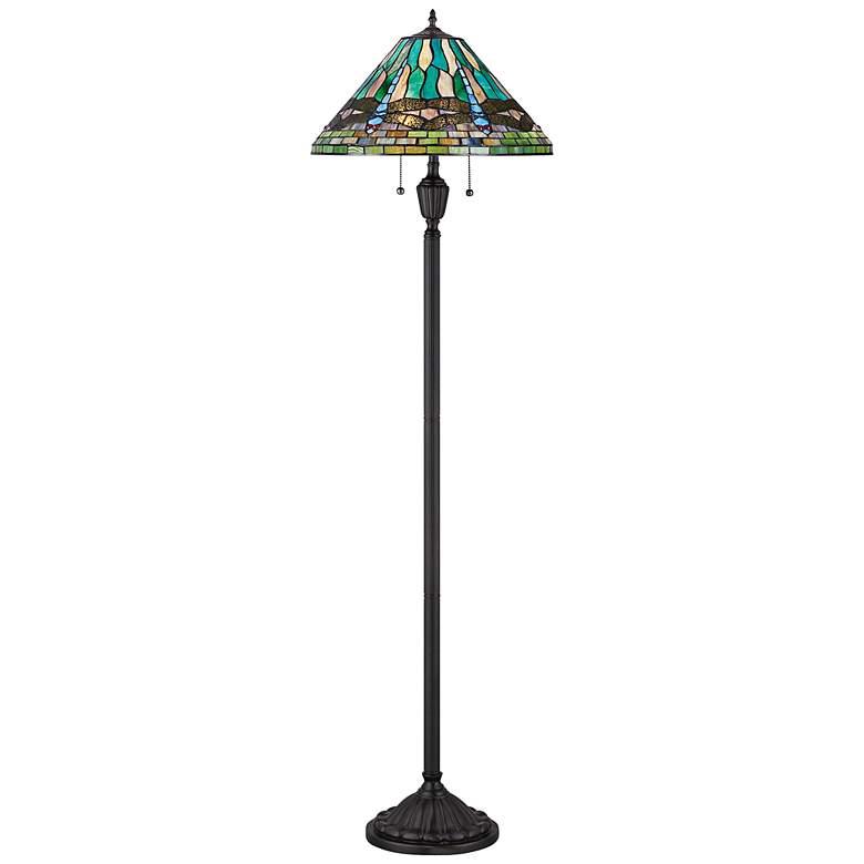 Quoizel King Tiffany Style Vintage Bronze Floor Lamp