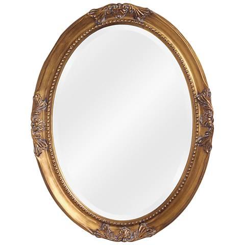 """Howard Elliott Queen Ann 25"""" x 33"""" Antique Gold Mirror"""