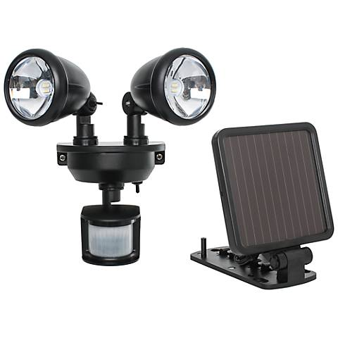 Black Dual Head Solar Powered LED Security Spotlight