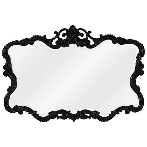 "Howard Elliott Talida 38"" x 27"" Black Wall Mirror"