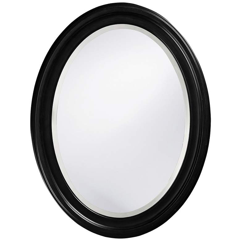 "Howard Elliott George Matte Black 25"" x 33"" Oval Wall Mirror"