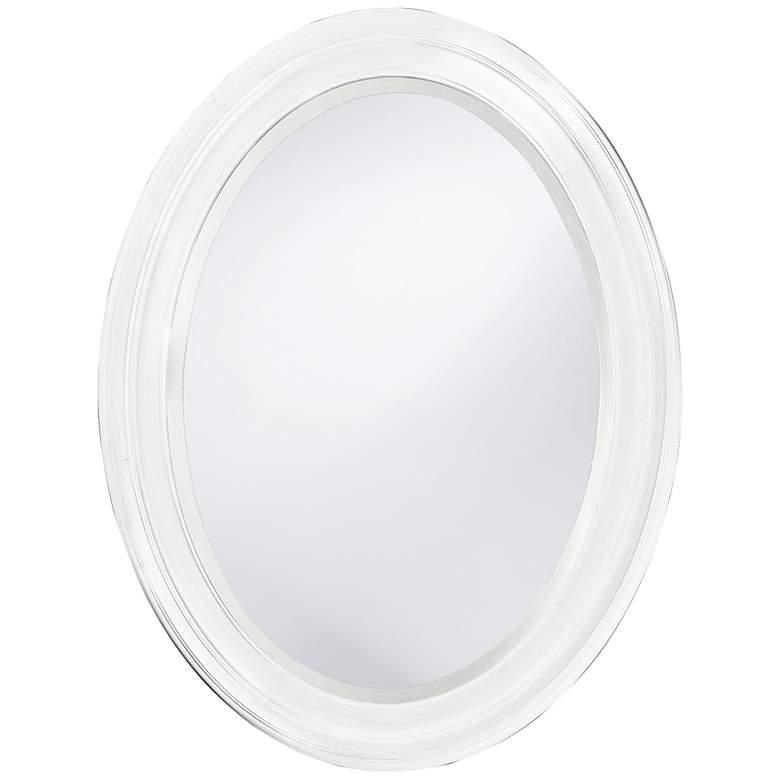 "Howard Elliott George White 25"" x 33"" Oval Mirror"