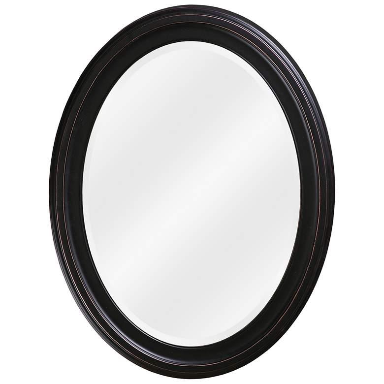 "Howard Elliott George Bronze 25"" x 33"" Oval Wall Mirror"