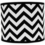 Black and White Chevron Drum Lamp Shade 14x14x11 (Spider)