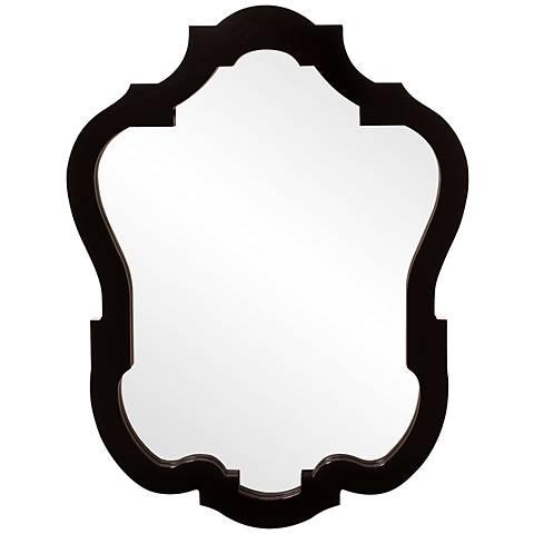 "Howard Elliott Asbury Glossy Black 32"" x 42"" Wall Mirror"