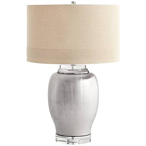 Chrome Radiance Satin Chrome Ceramic Table Lamp