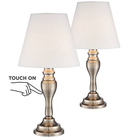 Thom Brass Touch Accent Table Lamps Set of 2 with 9W LED Bulbs