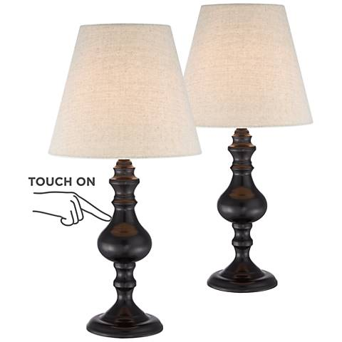 "Ted Dark Bronze 18 1/2""H Touch Accent Lamps Set of 2"