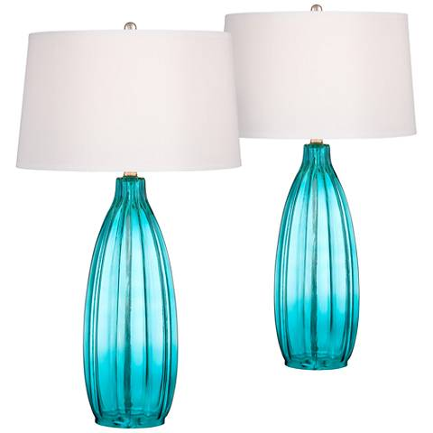 Stella Blue Fluted Glass Table Lamp Set of 2