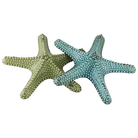 """Crestview Collection 12 1/2"""" Wide Set of 2 Starfish Statues"""