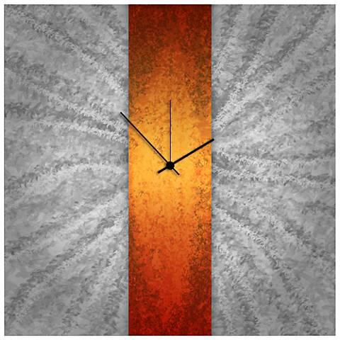 "Orange Stripe Clock 22"" Square Metal Wall Art"