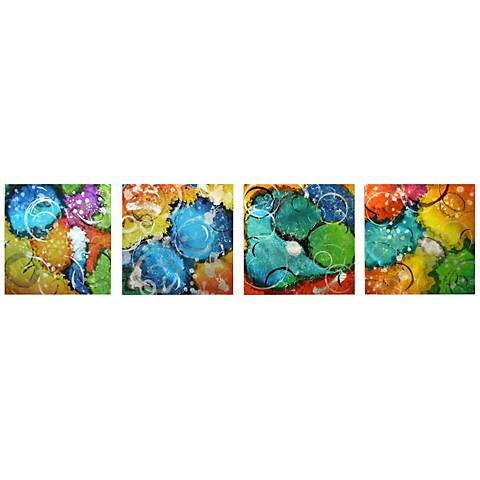 """Set of 4 Sunny Days 50"""" Wide Contemporary Metal Wall Art"""