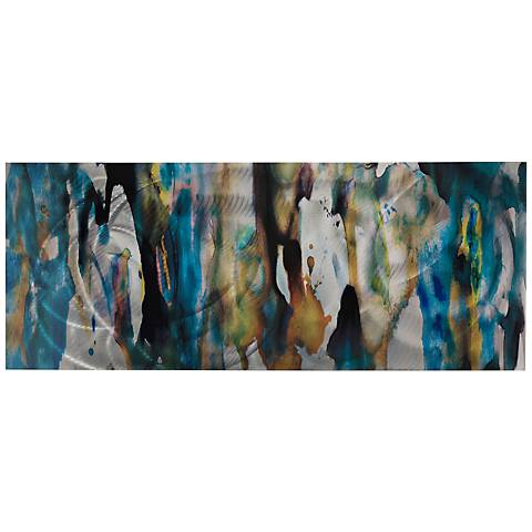 "Watercolor Composition 48"" Wide Abstract Metal Wall Art"