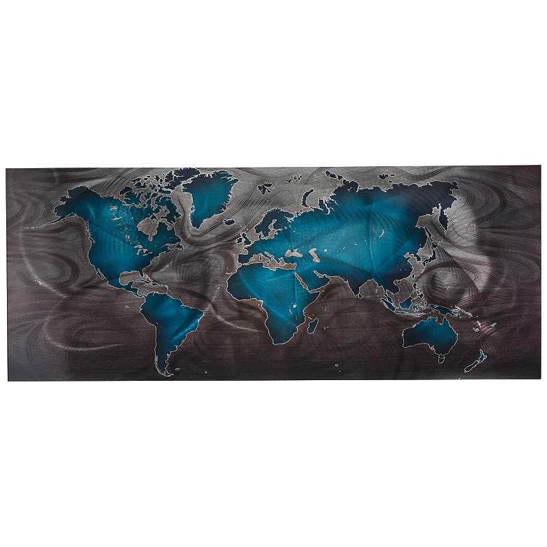 """Land and Sea Blue Pewter 48"""" Wide Abstract"""