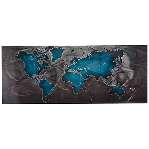 "Land and Sea Blue Pewter 48"" Wide Abstract Metal Wall Art"