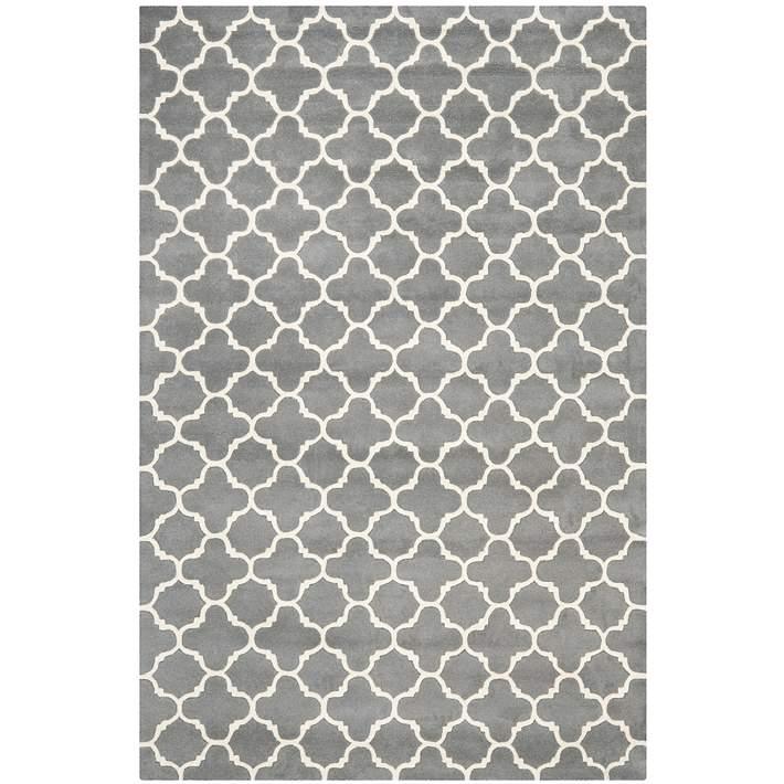 Safavieh Chatham Cht717d Dark Grey Ivory Wool Rug 5h688 Lamps