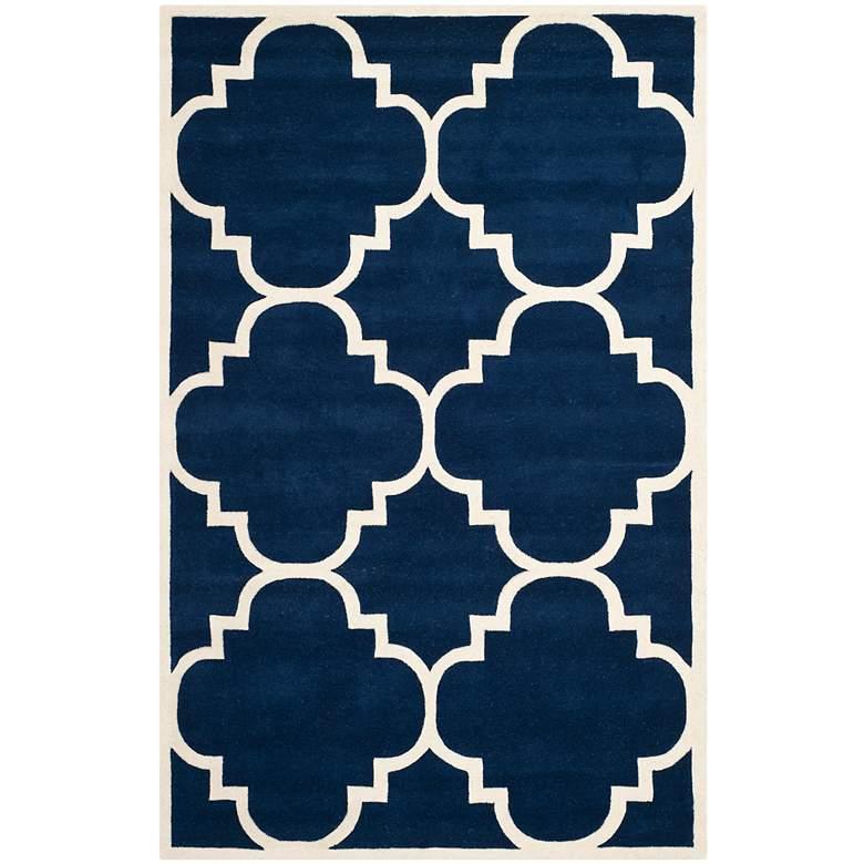 Safavieh Chatham CHT730C 5'x8' Dark Blue/Ivory Wool Rug