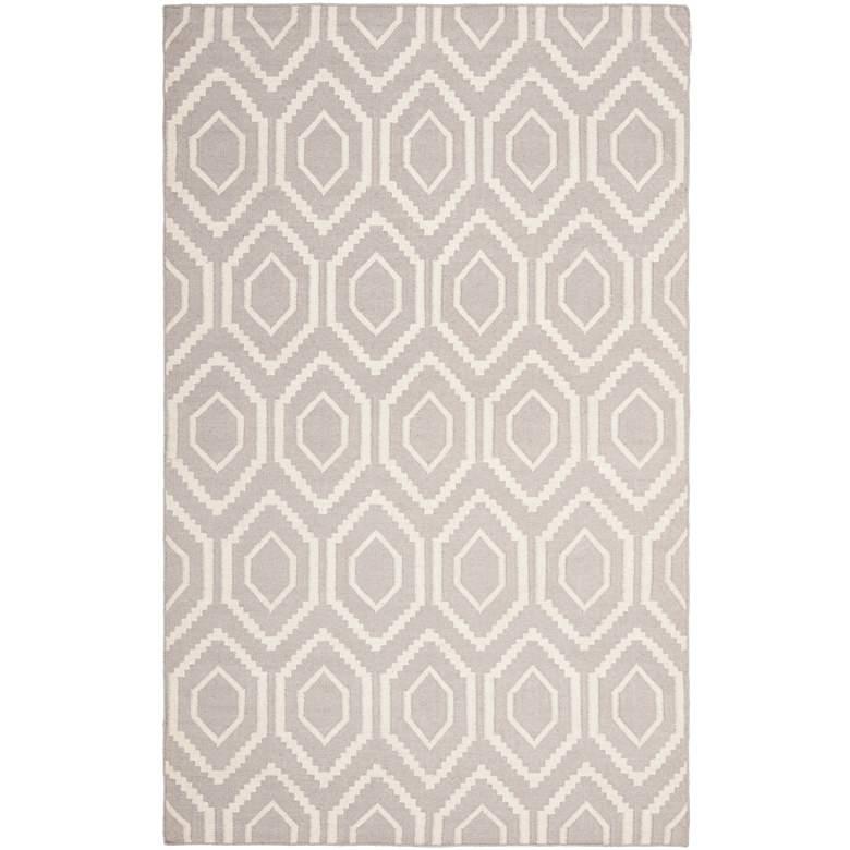Safavieh Dhurrie DHU556G 5'x8' Grey/Ivory Wool Rug