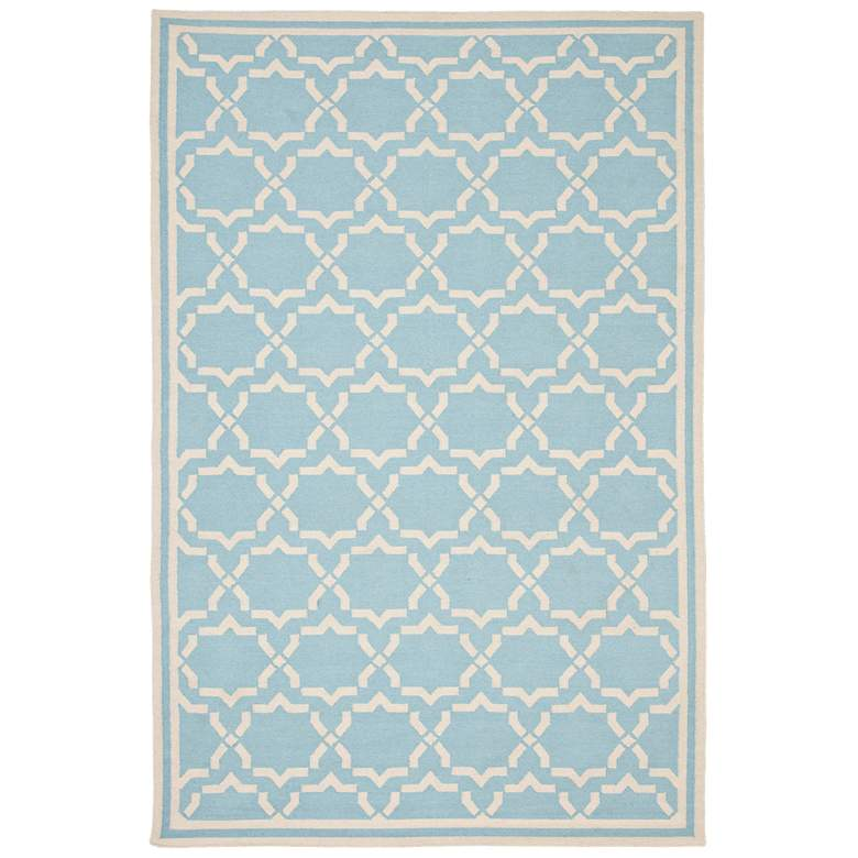 Safavieh Dhurrie DHU545B 5'x8' Light Blue/Ivory Wool Rug