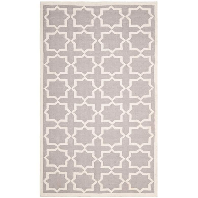 Safavieh Dhurrie DHU549G 5'x8' Grey/Ivory Wool Rug