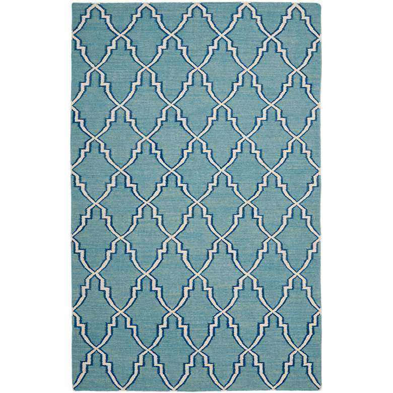 Safavieh Dhurrie DHU564B 5'x8' Light Blue/Ivory Wool Rug