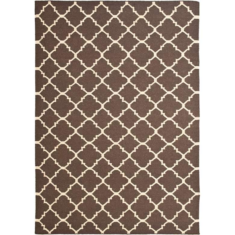 Safavieh Dhurrie DHU554C 5'x8' Brown/Ivory Wool Rug