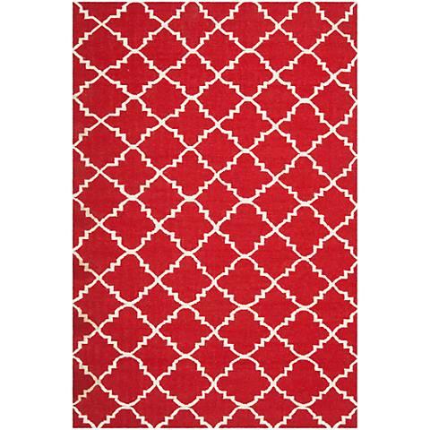 Safavieh Dhurrie DHU566B Red/Ivory Wool Rug