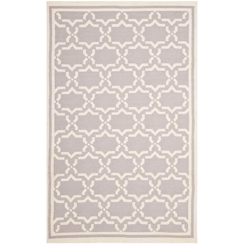 Safavieh Dhurrie DHU545G 5'x8' Grey/Ivory Wool Rug