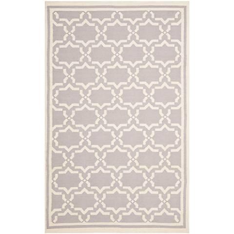 Safavieh Dhurrie DHU545G Grey/Ivory Wool Rug