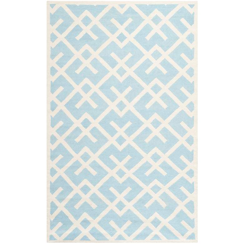 Safavieh Dhurrie DHU552B 5'x8' Light Blue/Ivory Wool Rug