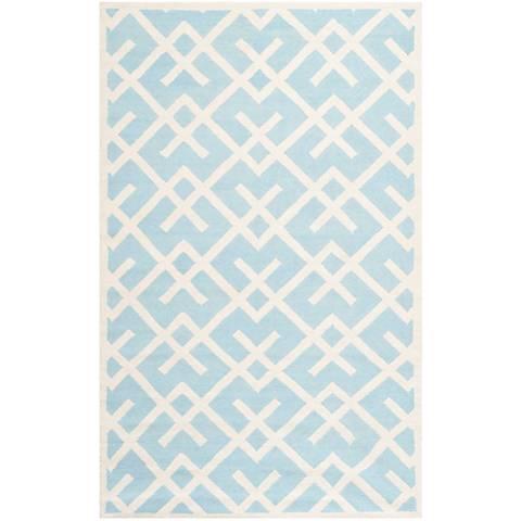 Safavieh Dhurrie DHU552B Light Blue/Ivory Wool
