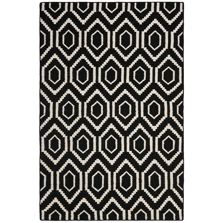 Safavieh Dhurrie DHU556L 5'x8' Black/Ivory Wool Rug