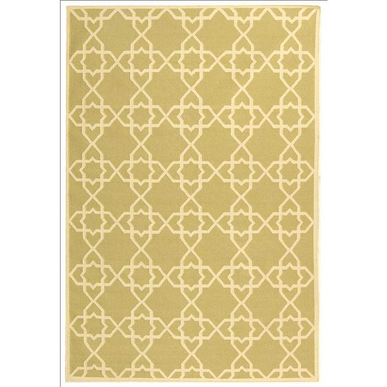 Safavieh Dhurrie DHU548A 5'x8' Olive/Ivory Wool Rug