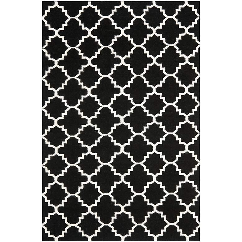 Safavieh Dhurrie DHU554L 5'x8' Black/Ivory Wool Rug
