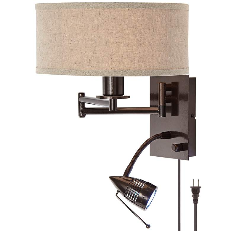 Possini Euro Radix Swing Arm Wall Lamp with LED Reading Light