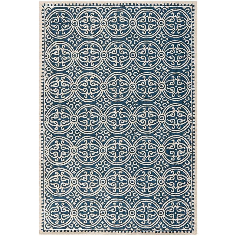 Safavieh Cambridge CAM123G 5'x8' Navy Blue/Ivory Wool Rug