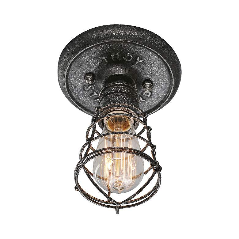 """Conduit 8 1/4"""" High Old Silver Ceiling Light"""