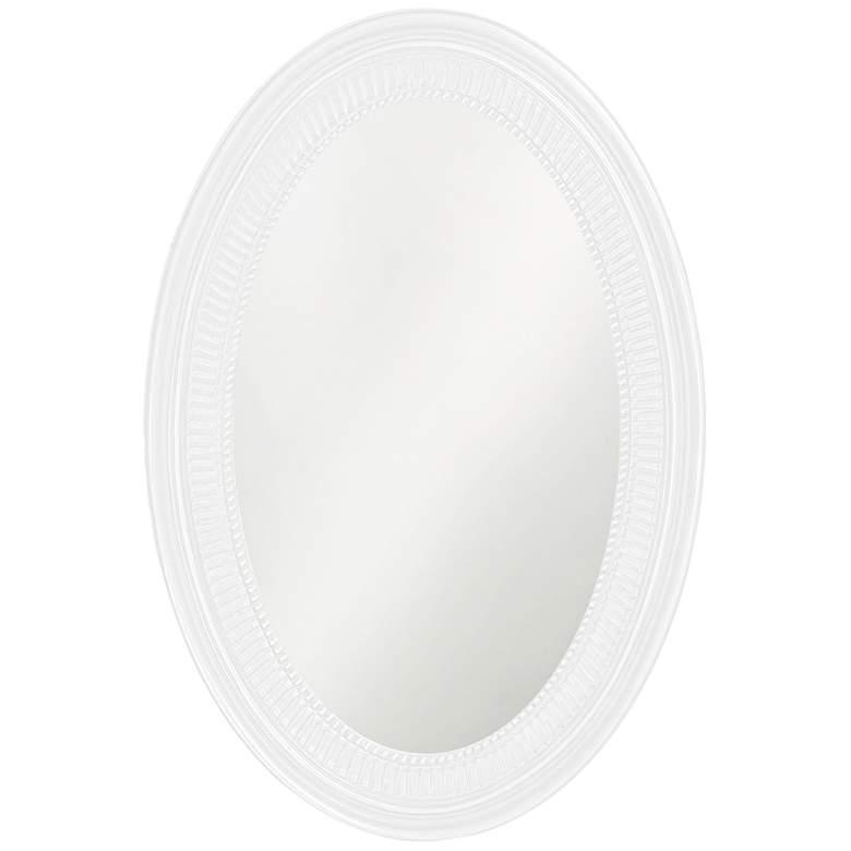 "Howard Elliott Ethan Glossy White 21"" x 31"" Oval Wall Mirror"