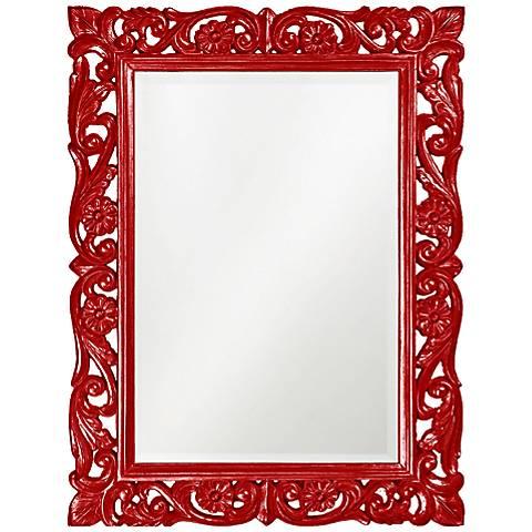 """Howard Elliott Chateau Red 31 1/2"""" x 42"""" Wall Mirror"""
