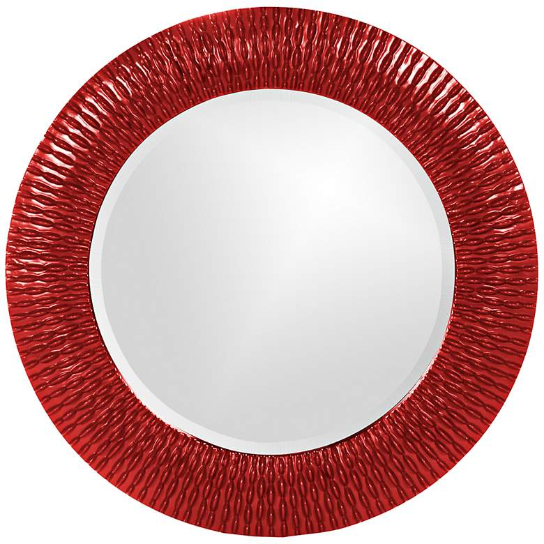 Howard Elliott Bergman Glossy Red 32, Red Round Mirror