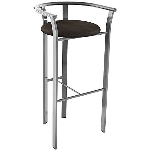 "Amisco Lolo Coal 26"" Magnetite Glossy Gray Counter Stool"