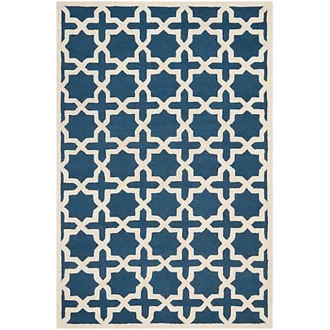 Safavieh Cambridge CAM125G Navy Blue/Ivory Wool Rug