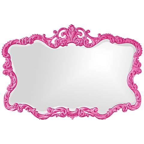 "Howard Elliott Talida 38"" x 27"" Hot Pink Wall Mirror"