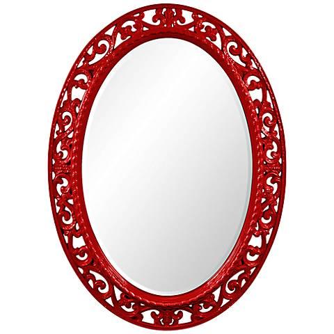 "Howard Elliott Suzanne Red 27"" x 37"" Oval Wall Mirror"