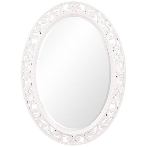 "Howard Elliott Suzanne White 27"" x 37"" Oval Wall Mirror"